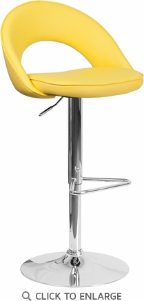 Contemporary Yellow Vinyl Rounded Back Adjustable Height Barstool with Chrome Base [CH-132491-YEL-GG]