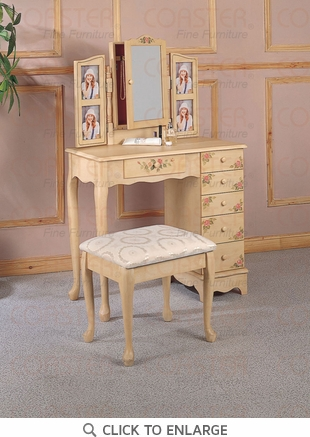 Cottage Style Hand Painted Make Up Vanity Table Set by Coaster - 4038