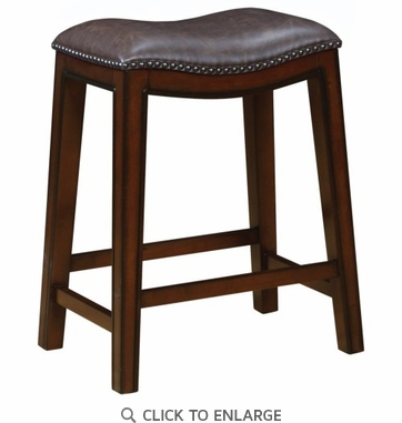 Counter Height Stool in Burnished Cappuccino and Brown Seat  - Set of 2
