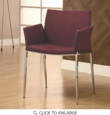 Cranberry Red Upholstered Dining Chairs with Chrome Legs by Coaster 120723 - Set of 2