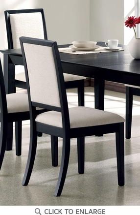Cream Chenille Black Wood Dining Chairs (Set of 2)