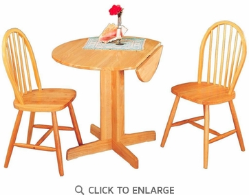 Damen 3 Piece Round Pedestal Dining Set in a Natural Finish by Coaster 4127-4137