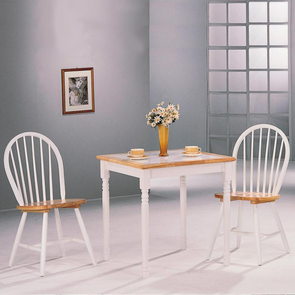 Damen 3 Piece Tile Top Dining Set In Natural And White By Coaster 4129    4191