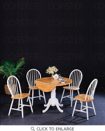 Damen 5 Piece Natural White Drop Leaf Dining Set by Coaster - 4241