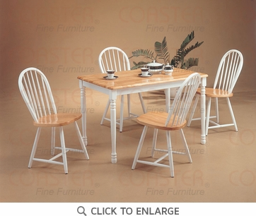 Damen 5 Piece Natural White Spindle Dining Set