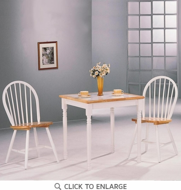 Damen 5 Piece Tile Top Dining Set in Natural and White