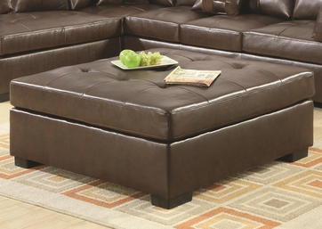 Darie Brown Bonded Leather Cocktail Ottoman with Wood Feet by Coaster 500687