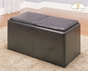 Dark Brown Cocktail Storage Ottoman with 2 Stools by Homelegance 469PU