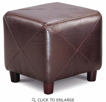 Dark Brown Faux Leather Cube Ottoman Footstool by Coaster - 500124