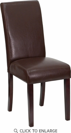 Dark Brown Leather Upholstered Parsons Chair [BT-350-BRN-LEA-008-GG]