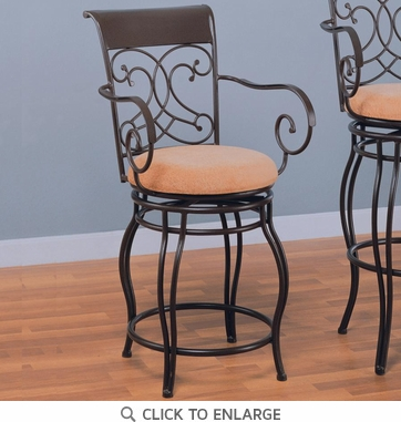 Dark Brown Metal Counter Height Stool Chair by Coaster - 120020