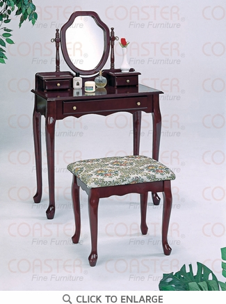 Dark Cherry Make Up Vanity Table and Stool by Coaster - 3441