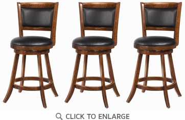 Dark Chestnut Swivel Counter Height Dining Chair - Set of 3