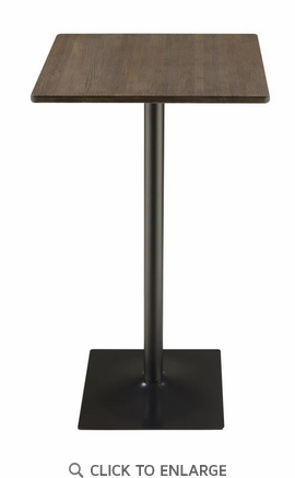 Dark Elm Square Bar Table With matte Black Finish by Coaster 100730