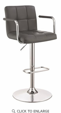 Dark Grey and Chrome Adjustable Bar Stool Chair with Foot Rest