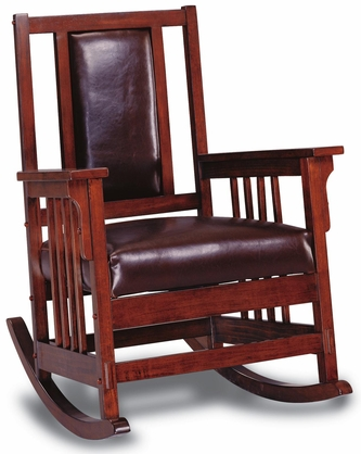 Dark Oak Rocker Chair with Brown Cushions by Coaster - 600058