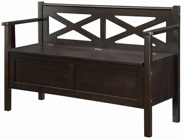 Dark Walnut Lift-Top Storage Bench with Arms & Backrest by Coaster 508006
