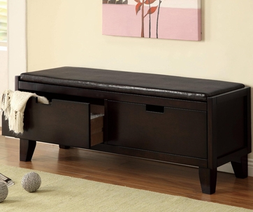 Dark Walnut Storage Bench with 2 Drawers and Padded Seat by Coaster 508005