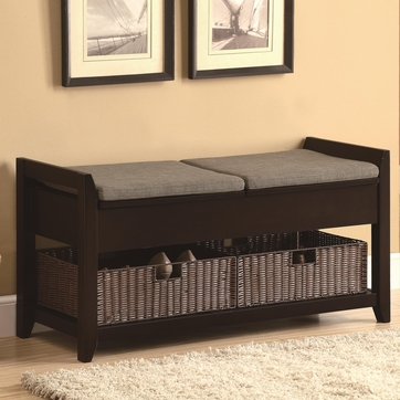 Dark Walnut Wood Finish Storage Bench with Baskets by Coaster 501090