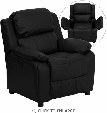 Deluxe Heavily Padded Contemporary Black Leather Kids Recliner with Storage Arms