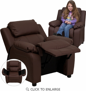 Deluxe Heavily Padded Contemporary Brown Leather Kids Recliner with Storage Arms