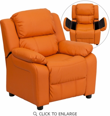 Deluxe Heavily Padded Contemporary Orange Vinyl Kids Recliner with Storage Arms