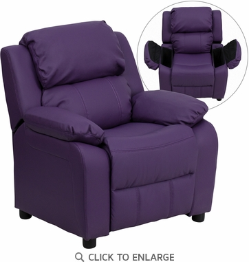 Deluxe Heavily Padded Contemporary Purple Vinyl Kids Recliner with Storage Arms