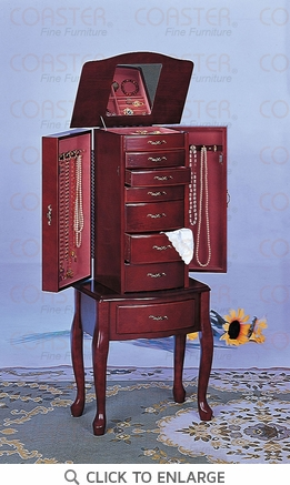 Deluxe Mahogany Finish Jewelry Armoire Lingerie Chest by Coaster
