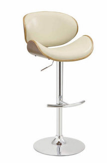 Distressed Wood and Cream Adjustable Bar Stool Chair by Coaster 130505