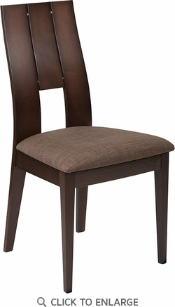 Emerson Espresso Finish Wood Dining Chair with Curved Slat Keyhole Back and Golden Honey Brown Fabric Seat [ES-CB-3906YBH-E-GH-GG]