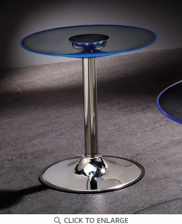 End Table with Chrome Base and LED Light Glass Top by Coaster 701497