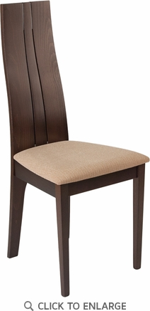 Essex Espresso Finish Wood Dining Chair with Brown Fabric Seat [ES-CB-2408YBH-E-BGE-GG]
