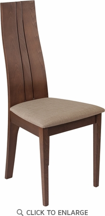 Essex Walnut Finish Wood Dining Chair with Magnolia Brown Fabric Seat [ES-CB-2408YBH-W-CR-GG]