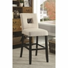 Beige Fabric Upholstered Counter Height Dining Chair - Set of 2