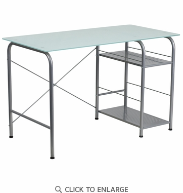 Glass Computer Desk with Open Storage [NAN-WK-086-GG]