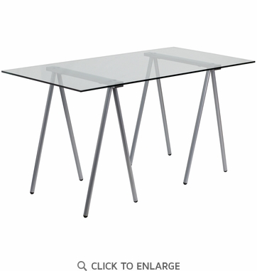 Glass Computer Desk with Silver Frame [NAN-JN-2119-GG]
