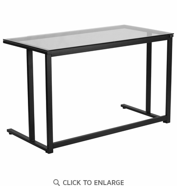 Glass Desk with Black Pedestal Frame [NAN-WK-055-GG]
