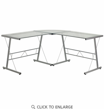 Glass L-Shape Computer Desk with Silver Frame Finish [NAN-CD-22181-GG]