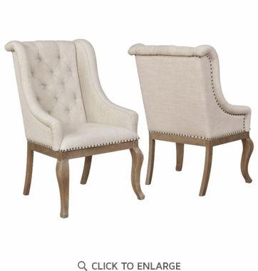 Glen Cove Dining Arm Chair with Nailhead Trim, Set of 2, Light Barley Borwn