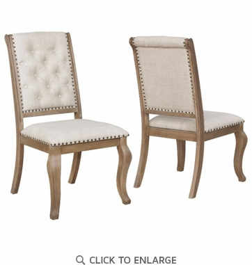 Glen Cove Light Barley Brown Dining Chair with Nailhead Trim - Set of 2
