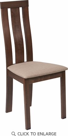Glenwood Walnut Finish Wood Dining Chair with Vertical Wide Slat Back and Magnolia Brown Fabric Seat [ES-CB-3932YBH-W-CR-GG]