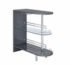Glossy Grey Bar Table with Wine Glass Holder and Glass Shelf