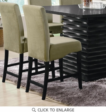 Green Counter Height Stool Chair with Black legs by Coaster 102069GRN - Set of 2