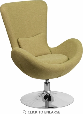 Green Fabric Egg Series Reception-Lounge-Side Chair [CH-162430-GN-FAB-GG]