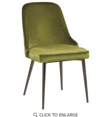 Green Velvet Upholstered Dining Chair With Tapering Legs - Set of 4