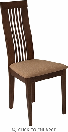 Hamlet Walnut Finish Wood Dining Chair with Framed Rail Back and Brown Fabric Seat [ES-CB-2411YBH-W-MICBGE-GG]