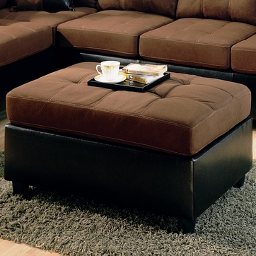 Harlow Dark Brown Microfiber Two Tone Ottoman by Coaster - 505656