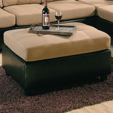 Harlow Tan Microfiber Two Tone Ottoman by Coaster - 505676