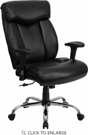 HERCULES 350 lb. Capacity Big & Tall Black Leather Office Chair with Arms [GO-1235-BK-LEA-A-GG]