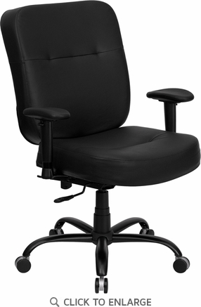 HERCULES 400 lb. Capacity Big and Tall Black Leather Office Chair with Arms and Extra WIDE Seat [WL-735SYG-BK-LEA-A-GG]